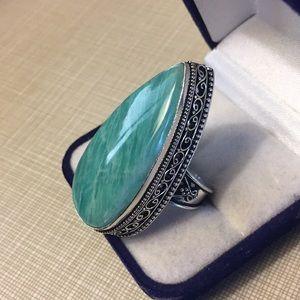 Natural amazonite artisan design ring